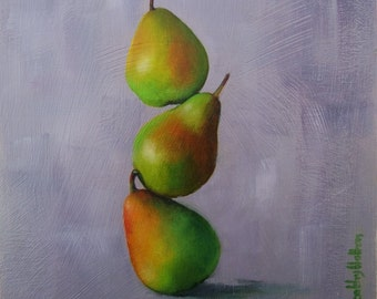 Oil painting of pears, small painting, fruit painting