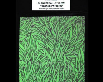 Foliage Glow in the Dark Decal. Glass Decals. Ceramic Decals. Glass Decal Sheet. Glass Fusing, Glass Blowing, Lampworking, Ceramics Supplies