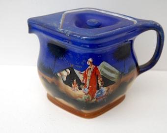 Rubian Art Pottery Cube shaped Vintage teapot