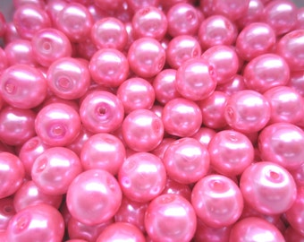 50 Pcs - Bubblegum Pink Glass Pearl Beads - 8mm diameter