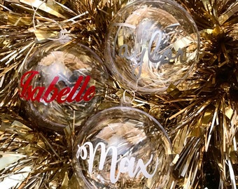 Christmas Baubles - 8cm Clear Acrylic