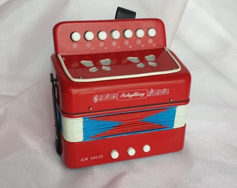 Vintage Schylling Accordion Starter Instrument for Children #424-501 Red White and Blue Accordian