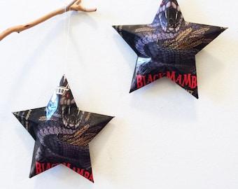 Black Mamba Oatmeal Stout Stars: Striking Cobra, Christmas Ornaments, Aluminum Can Upcycled, Aviator Brewing Company, Man Cave Decor