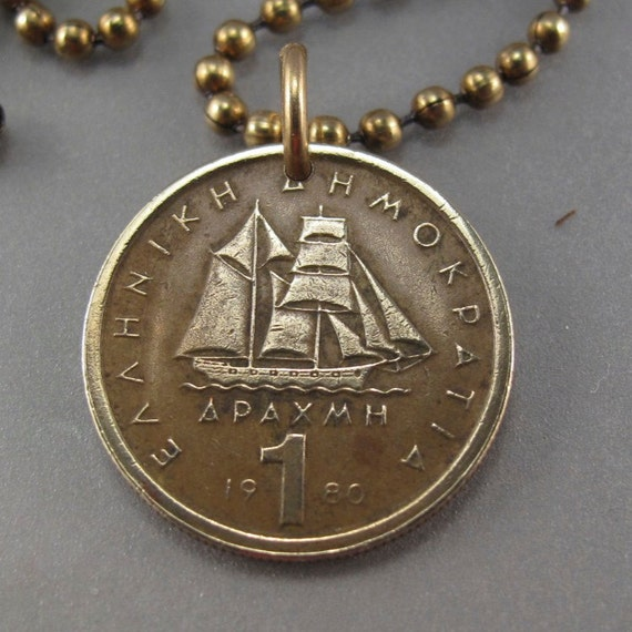Greece necklace greek jewelry greece coin pendant boat mozeypictures Images