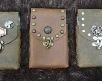Instock 8oz Hip Flask or Cell Phone Leather Belt Pouch, Brown, Steampunk, Western, Handmade