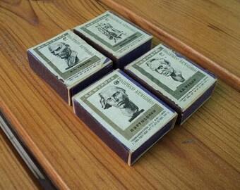 Set of 4 boxes Soviet wooden matches, USSR, sculpture, old matchbox, Soviet rare, vintage, 1967