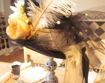 SUNSET ANGEL, Custom-Made Black Top Hat, Embellished for Bachelorette, Wedding, Girls Night, Birthdays, Parties, Concerts, Holidays, Costume