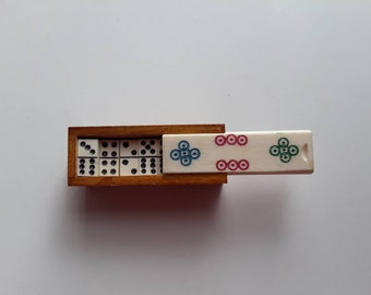 miniature dominoes with box | retro games | handmade miniature dominoes | pocket size games | mini dominoes | miniature games | travel games