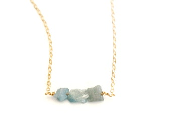 Raw Aquamarine Necklace, Raw Crystal Necklace, Gemstone Necklace, Layering Necklace, Aquamarine Jewelry, March Birthday Gift, Gift for Her