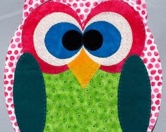 Horned Owl Mug Rug - Pink Dots
