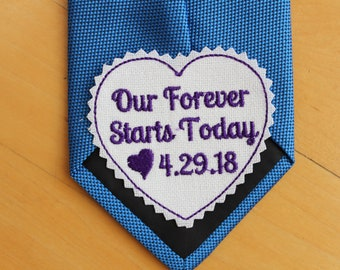 Groom Tie Patch, Our forever starts Today tie patch for the groom, groom gift from the bride, wedding tie label, suit label, EMBROIDERED