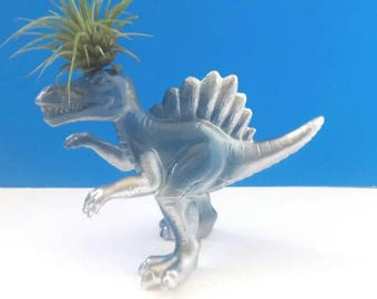 Repurposed Blue And Silver Dinosaur Air Planter, Upcycled Dinosaur, Dinoplanter, Recycled Dinosaur Planter, Low Care Planter, Made By Mod.
