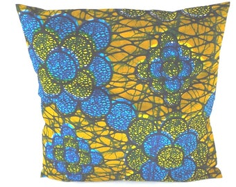 African Wax pillow cover 40 x 40 cm shades blue and ochre veined black