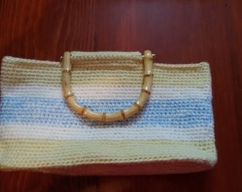 Yellow, Blue and White Crocheted Tote with Bamboo Handles