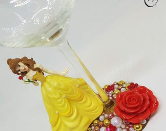 Personalised Disney Belle from Beauty and the Beast Wine Glass