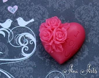 Heart Handmade Novelty Soap, I Love You Soap, Wedding Shower Favor, Be My Valentine
