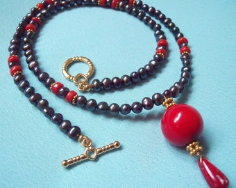 Red Coral, Freshwater Pearls, 18k Gold Plated Necklace
