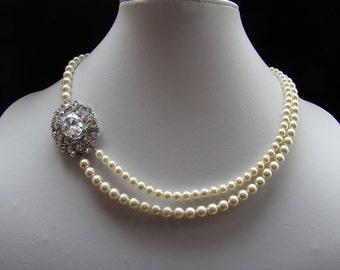 Bridal Pearl Necklace, Cubic Zirconia Pearl Necklace, Wedding Necklace, Bridesmaid Jewelry, CZ Rhinestone Necklace,  #N4154-SP2