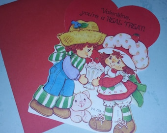 Strawberry Shortcake Vintage Greeting Card  Happy Valentine's Day with Huckleberry Pie Small Blank Card