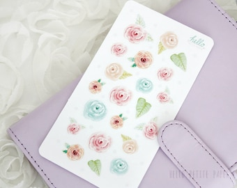 Watercolor flowers stickers - hand-drawn, matte stickers for planners and scrapbook / decorative stickers