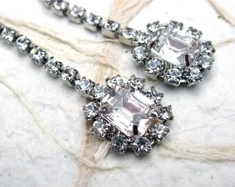 Long Vintage Sarah Coventry Rhinestone Dangle Pierced Earrings