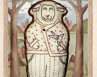 hand embroidery pattern by kathy schmitz of sheep in pajamas soft toy