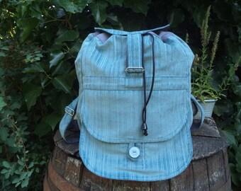 Ice-blue corduroy big backpack
