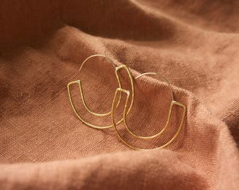 Elena Earrings | Brass or Sterling Silver Hoops