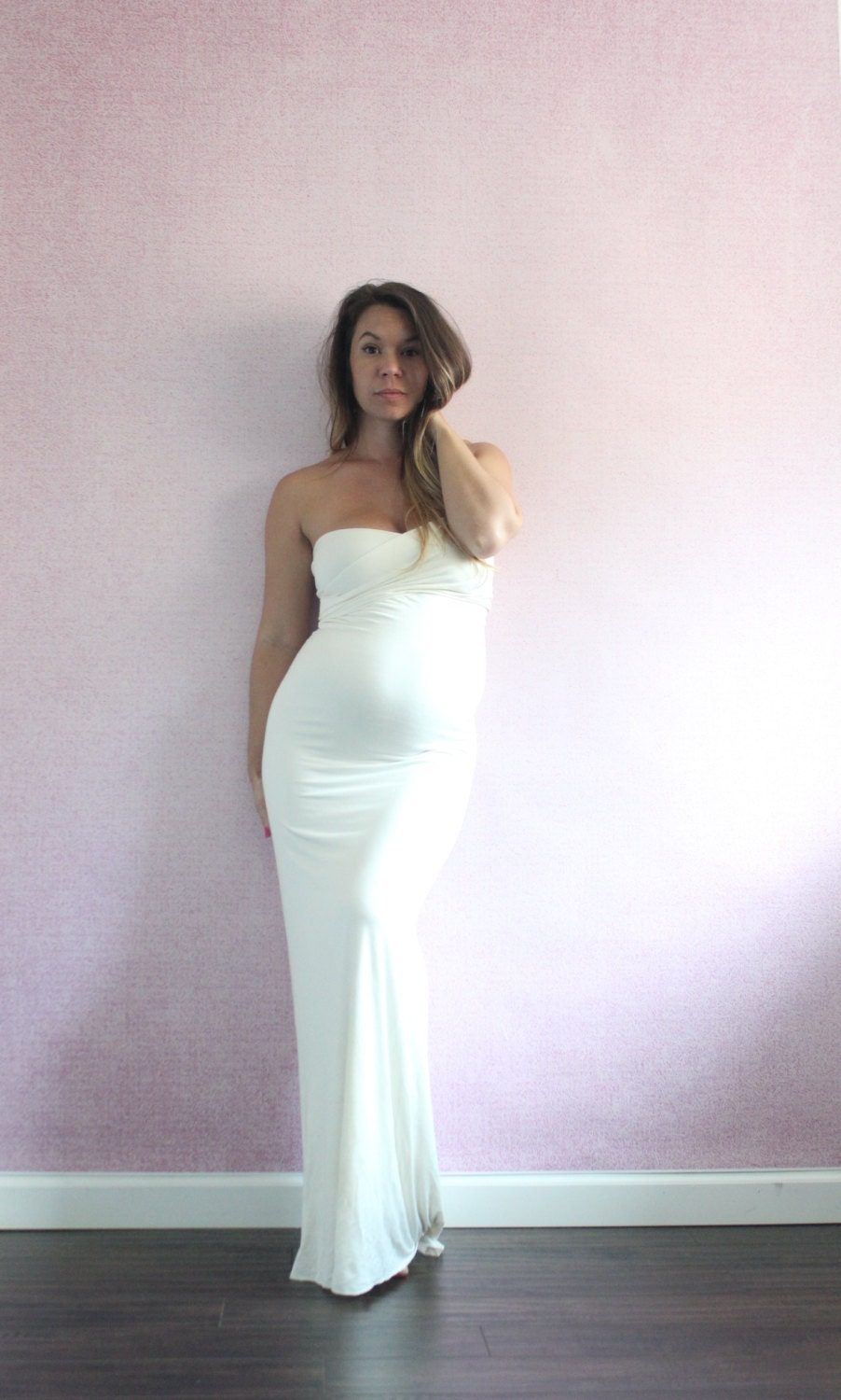 Maternity dress long fitted maternity gown gender reveal zoom ombrellifo Images