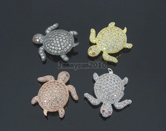 Clear Zircon Gemstones Pave Turtle Bracelet Connector Charm Beads Silver Gold Rose Gold Gunmetal
