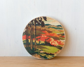Paint by Number Circle Art Block 'Sunset Hills' - autumn landscape, rural, vintage, trees