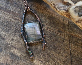 Labradorite Necklace/ Copper Necklace/ Twig Necklace/ Copper Jewelry