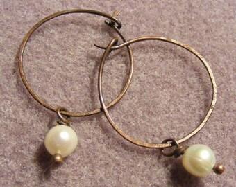 Pearl and Copper Hoops - Earrings