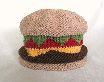 Knit Tasty Burger Baby Cotton Hat, great photo prop
