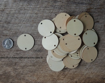 1.5 inch wooden 2 HOLE TAG craft circles, DIY craft supplies one and half inch wood circles, wood coins, wood disk, rounds, cookies,  holes