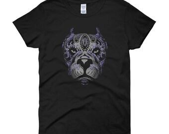 Women's Purple Tribal Pitbull T-Shirt