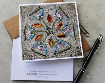 Sunshine Pinwheel Mandala Note Card with 5x5 square envelope, blank inside.