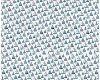 Fabric by the Yard- By The Sea by Dani Mogstac - Boats in White - RIley Blake