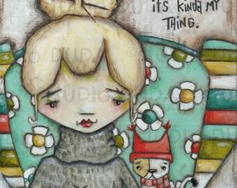 Original Folk Art Mixed Media Whimsical Painting - Knitting is My Thing - Free U.S. Shipping