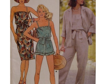 Womens Jumpsuit, Romper Pattern, Sundress, Strapless, Shoestring Straps, Jacket, Loose Fitting, Butterick No. 6553 Size 8 10