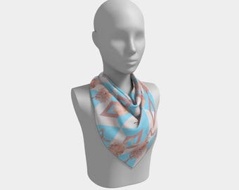 """26""""x26 - Square Scarf - Pastel pink and blue geometric scarf with Australian native flowers - Beautiful Banksia"""