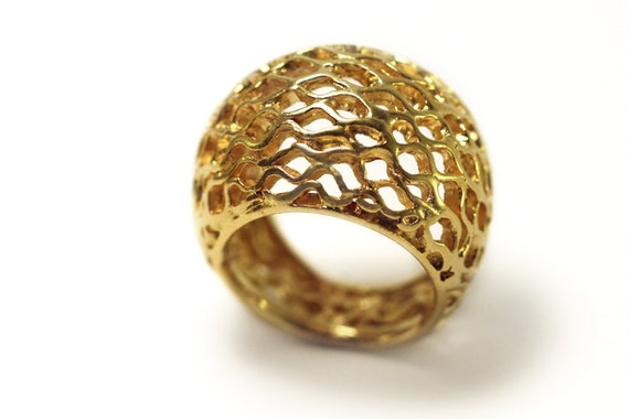 Big Bee Hive Ring Honey b ring 9k yellow gold ring