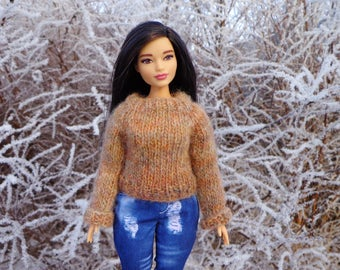 Curvy Barbie Sweater - Curvy Barbie clothes - Barbie knit Sweater - Barbie Made To Move sweater
