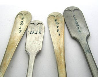 Flower Garden Labels, Ecocycled Plant Markers, Upcycled Cutlery, Gardening Gift, Poppy Petunia Pansy Iris, Rustic Reclaimed VintageForks