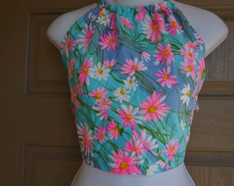 Vintage halter shirt half top floral print small medium large 70s 1970s