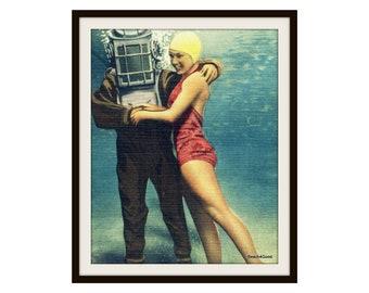 Scuba Art, Scuba Diver Gift, Father's Day Gift, Diver with Girl Photograph, Scuba Gifts, Scuba Art Vintage Florida Art Scuba Dad Bell Helmet