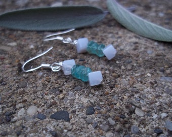 Weight Loss, Green Apatite Blue Lace Agate Earrings in Sterling Silver, Natural Gemstone Synergy, Healing Stones