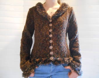 Cardigan in Brown wool blend.