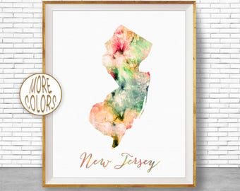 New Jersey Map Art Print New Jersey Art Print New Jersey Print Map Print Map Poster Watercolor Map Office Decor Office Poster ArtPrintZone