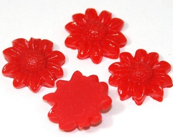 4 pcs of Acrylic Sunflower Cabochons - Spicy Red -- 21mm